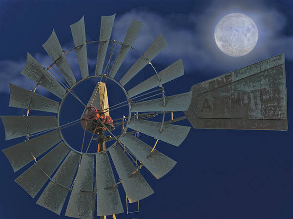 Windmill Poster featuring the digital art The Moon Spinner by Wendy J St Christopher