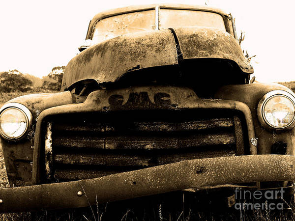 Black And White Poster featuring the photograph The Old Jalopy . 7d8396 by Wingsdomain Art and Photography