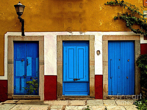 Darian Day Poster featuring the photograph Three Blue Doors 1 by Mexicolors Art Photography
