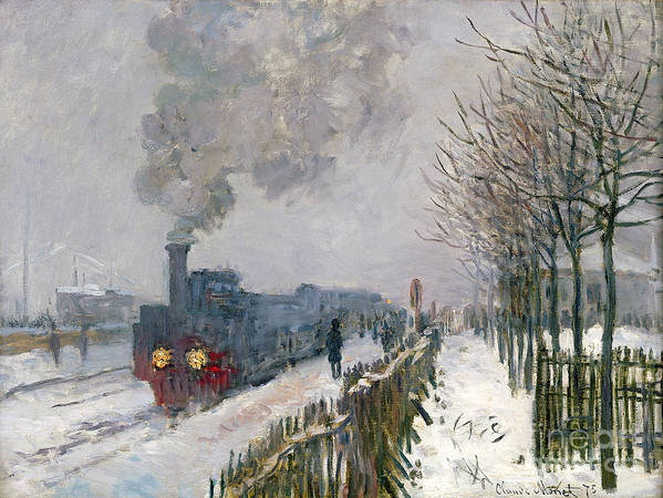 Train Poster featuring the painting Train In The Snow Or The Locomotive by Claude Monet