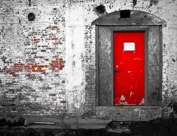 Huxley Poster featuring the photograph Red Door Perception by Bob Orsillo