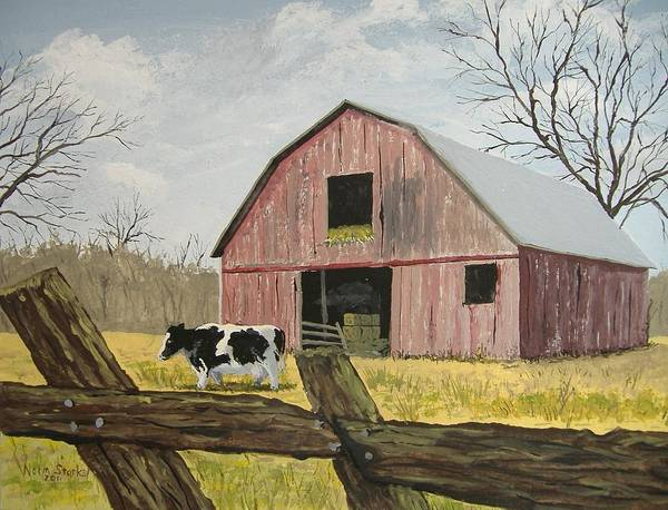 Barn Poster featuring the painting Cow And Barn by Norm Starks