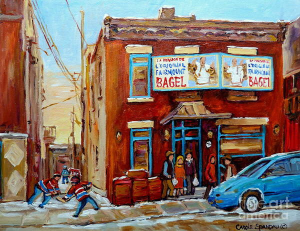 Montreal Poster featuring the painting Fairmount Bagel In Winter Montreal City Scene by Carole Spandau