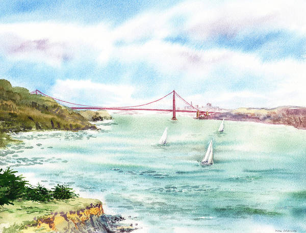 San Francisco Poster featuring the painting Golden Gate Bridge View From Point Bonita by Irina Sztukowski