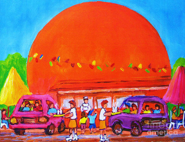 Montreal Poster featuring the painting Happy Days At The Big Orange by Carole Spandau