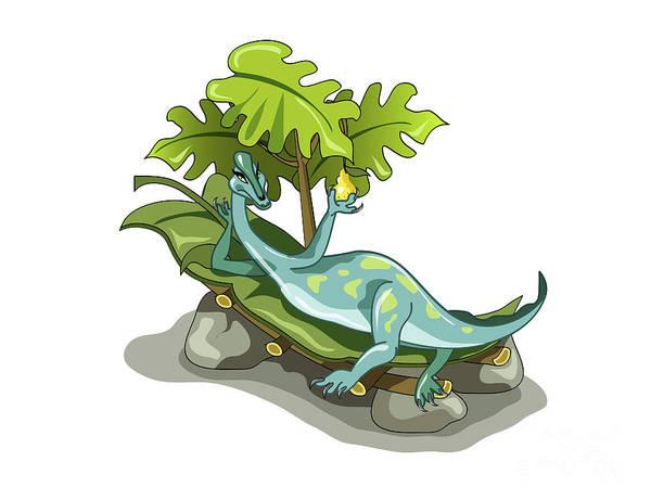 Horizontal Poster featuring the digital art Illustration Of An Iguanodon Sunbathing by Stocktrek Images