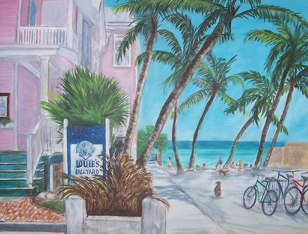 Louie's Backyard Poster featuring the painting Louie's Backyard by Linda Cabrera
