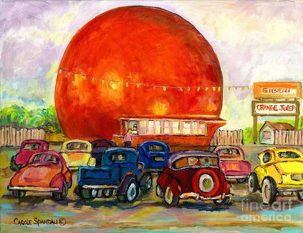 Orange Julep With Classic Cars Poster featuring the painting Orange Julep With Antique Cars by Carole Spandau