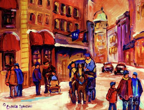 Montreal Poster featuring the painting Rue St. Paul Old Montreal Streetscene In Winter by Carole Spandau