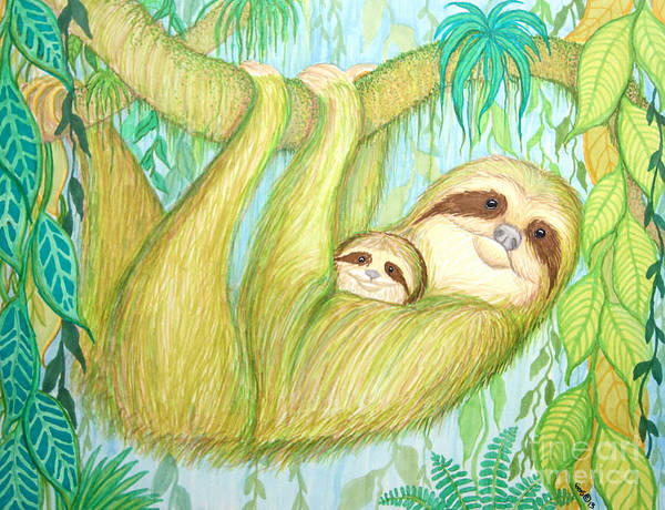 Sloth Poster featuring the drawing Soggy Mossy Sloth by Nick Gustafson