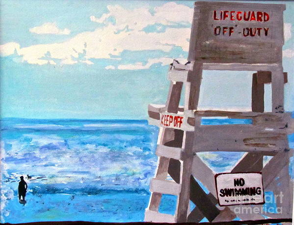 Lifeguard Poster featuring the painting Solitude by Beth Saffer