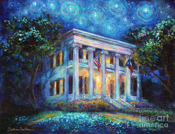Texas Governor Mansion Poster featuring the painting Texas Governor Mansion Painting by Svetlana Novikova