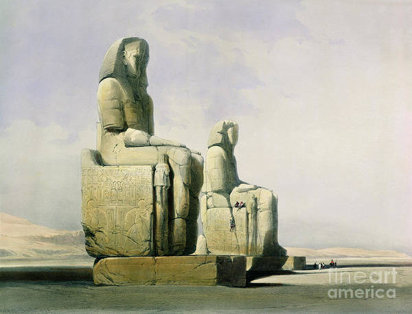 Statues Poster featuring the painting Thebes by David Roberts