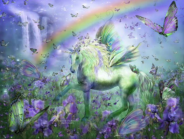 Unicorn Poster featuring the mixed media Unicorn Of The Butterflies by Carol Cavalaris