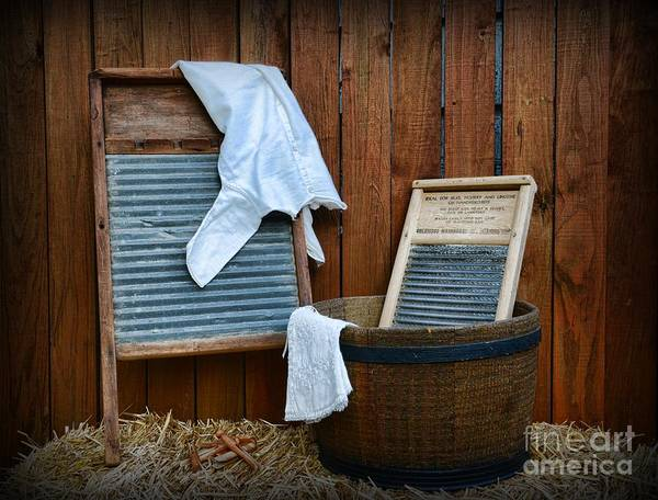 Paul Ward Poster featuring the photograph Vintage Washboard Laundry Day by Paul Ward