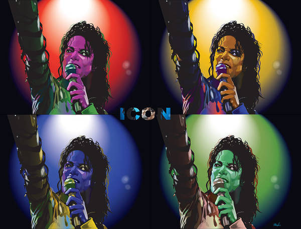 Celebrity Art Poster featuring the digital art Michael Jackson Icon4 by Mike Haslam