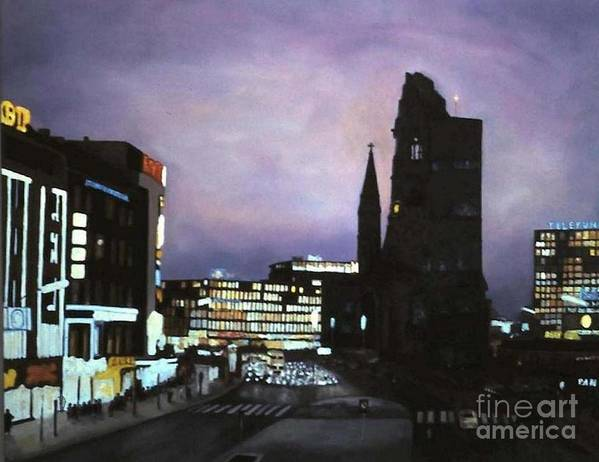 Cityscape Poster featuring the painting Berlin Nocturne by Michael John Cavanagh