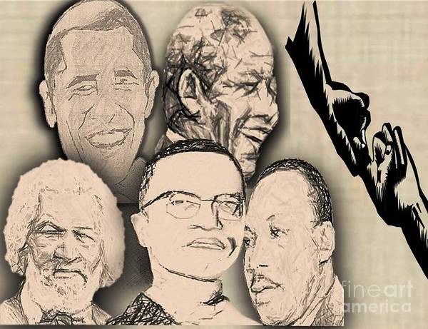 President Barrack Obama Poster featuring the digital art Great Powerful African American Men by Belinda Threeths