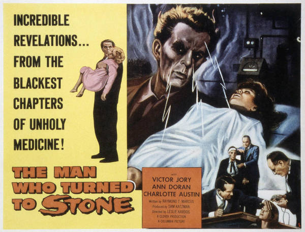 1957 Movies Poster featuring the photograph The Man Who Turned To Stone, Victor by Everett