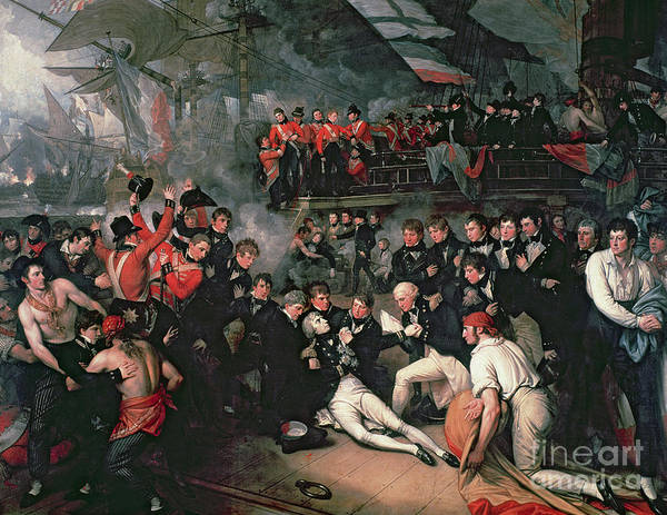 Male; Hero; War; On Board; Ship; Dying; Sickly; War; Hero; Napoleonic Wars; Lanterns; Crew; Concern; Naval; Battle Of Trafalgar; Victorious; War Poster featuring the painting Benjamin West by The Death of Nelson