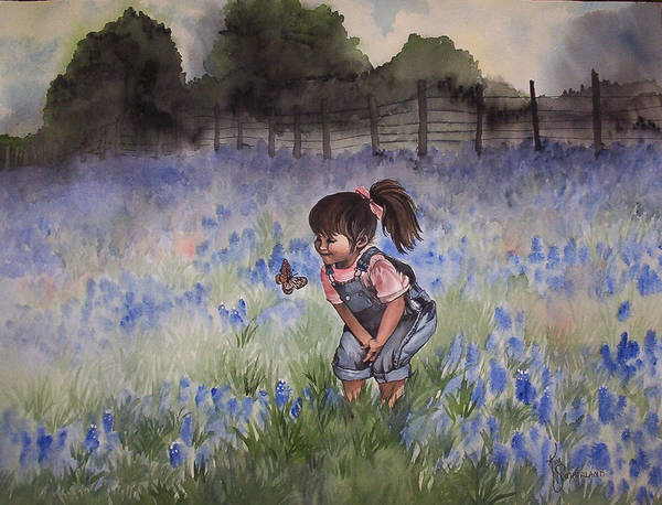 Texas Poster featuring the painting Bluebonnet Cutie by Kim Whitton