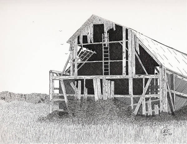 Pen And Ink Poster featuring the drawing Catawba Barn by Pat Price