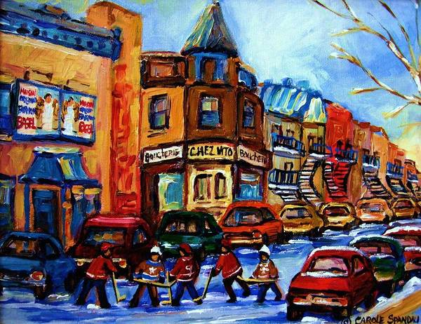 Hockey Poster featuring the painting Fairmount Bagel With Hockey Game by Carole Spandau