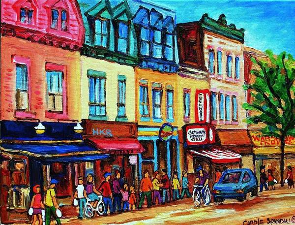 Cityscape Poster featuring the painting Lineup For Smoked Meat Sandwiches by Carole Spandau