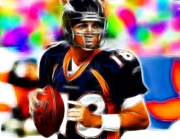 Denver Broncos Poster featuring the painting Magical Peyton Manning Borncos by Paul Van Scott