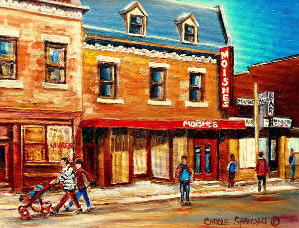 Moishes Steakhouse Poster featuring the painting Moishes The Place For Steaks by Carole Spandau