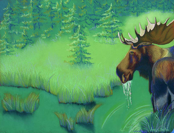 Moose Poster featuring the pastel Moose by Tracy L Teeter