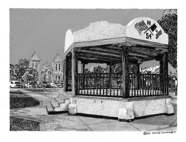 Framed Prints Of Old Mesilla Poster featuring the drawing Old Mesilla Plaza And Gazebo by Jack Pumphrey