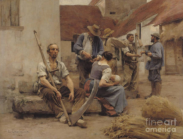 Paying Poster featuring the painting Paying The Harvesters by Leon Augustin Lhermitte