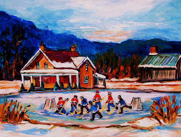 Hockey Poster featuring the painting Pond Hockey by Carole Spandau