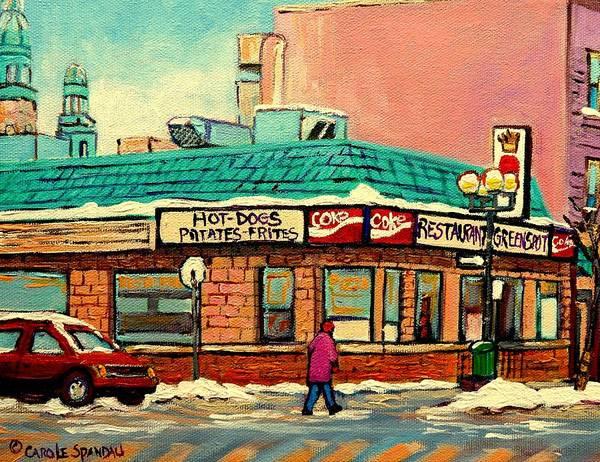 Greenspot Restaurant Deli Poster featuring the painting Restaurant Greenspot Deli Hotdogs by Carole Spandau