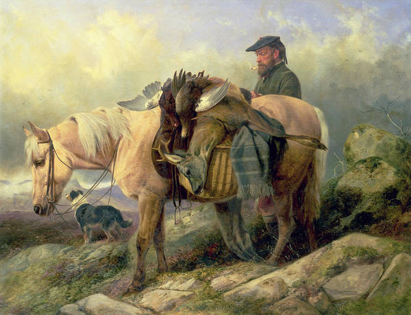 Pony; Brace; Grouse; Pipe; Deer; Hunt; Hunting; Hunter; Dog; Scotland; Scotsman; Highlands; Stag; Loaded; Horse; Beret; Blanket; Kilt; Rainclouds Poster featuring the painting Returning From The Hill by Richard Ansdell