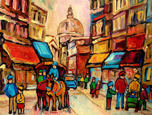 Montreal Poster featuring the painting Rue St. Paul Old Montreal Streetscene by Carole Spandau