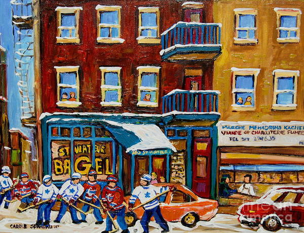 Montreal Poster featuring the painting Saint Viateur Bagel With Hockey by Carole Spandau