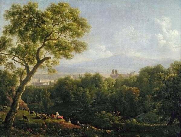 View Poster featuring the painting View Of Frascati by Jean Bidauld