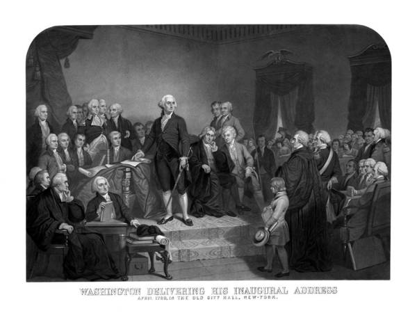 George Washington Poster featuring the drawing Washington Delivering His Inaugural Address by War Is Hell Store