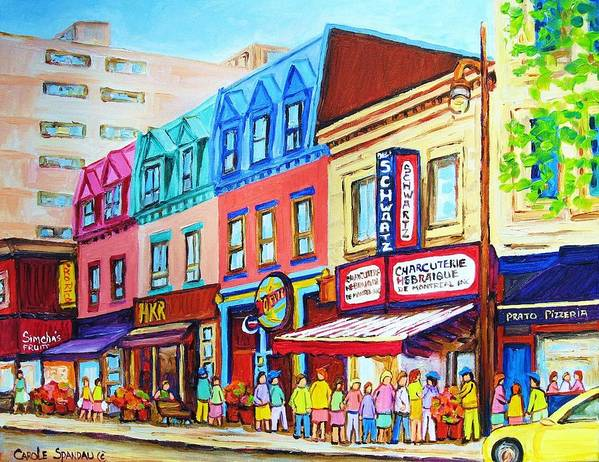 Reastarant Poster featuring the painting Yellow Car At The Smoked Meat Lineup by Carole Spandau