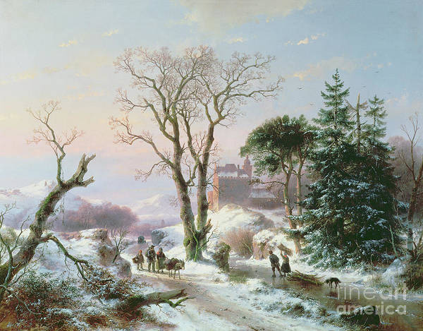 Winter Poster featuring the painting Wooded Winter River Landscape by Andreas Schelfhout