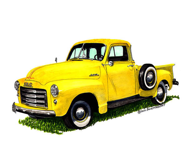 Old Iron Poster featuring the painting 1953 G M C 5-window Pick-up by Jack Pumphrey