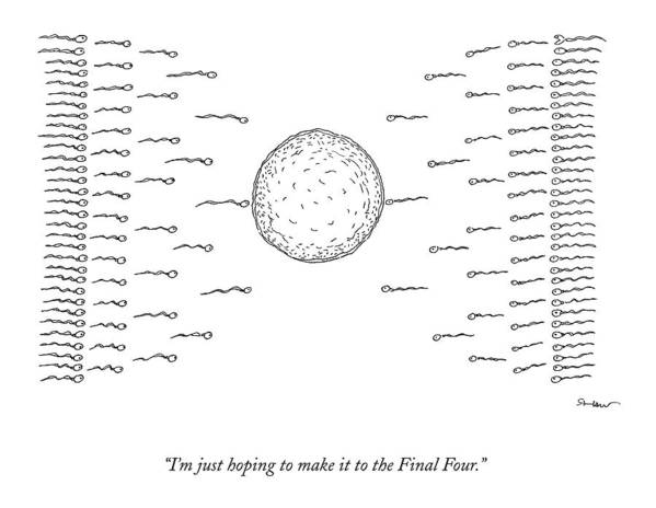 March Madness Poster featuring the drawing A Number Of Sperms Approach An Egg In The Shape by Michael Shaw
