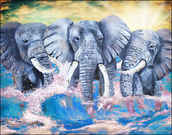 Elephants Poster featuring the painting Elephants In The Tide by Tara Richelle