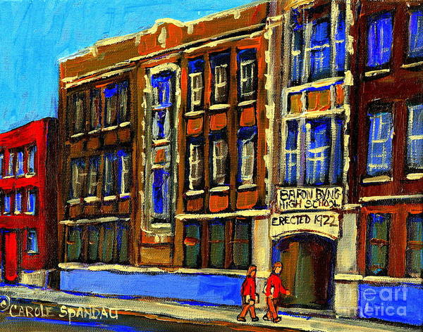 Baron Byng High School Poster featuring the painting Flashback To Sixties Montreal Memories Baron Byng High School Vintage Landmark St. Urbain City Scene by Carole Spandau