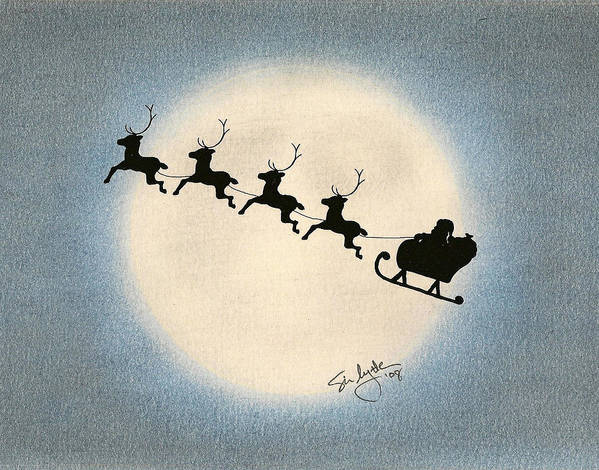 Christmas Poster featuring the drawing Flight 1224 by Troy Levesque