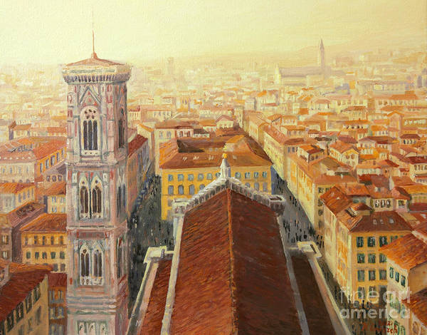 Aerial Poster featuring the painting Flight Over Florence by Kiril Stanchev