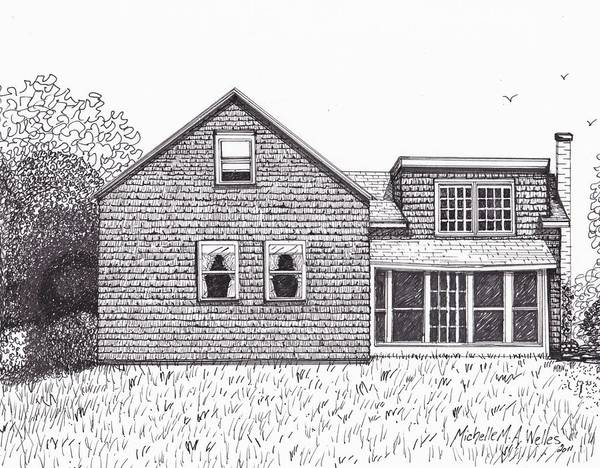 Old Farmhouse Poster featuring the drawing Hettinger Family Farm by Michelle Welles