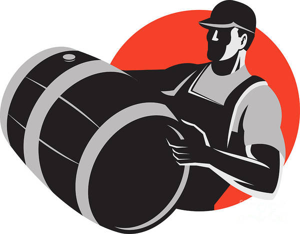 Man Poster featuring the digital art Man Carrying Wine Barrel Cask Keg Retro by Aloysius Patrimonio